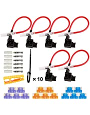 TOOHUI® 32V Low Profile Fuse Holder, Car Add-A-Circuit Fuse Tap with Wire Harness, Piggy Back Blade Fuse Holder Connector, Mini Fuse Tap with 3A/5A/15A Fuse and Fuse Puller (Pack of 6)