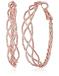 Guess Braided Rose Gold Hoop Earrings