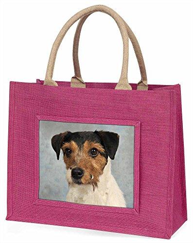 Advanta ad-jr5blp Jack Russell Terrier große Einkaufstasche/Weihnachtsgeschenk, Jute, pink, 42x 34,5x 2cm