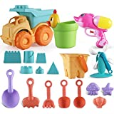 Parts 3 A Beach Sand Toys Set for Kids,Beach Pail Set with Molds Bucket and soft plastic Pool Toy Set (19 Pieces Beach Toy) (pink)
