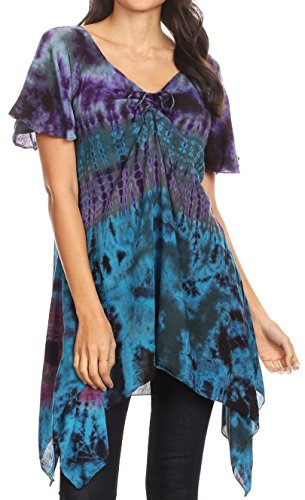 Sakkas 18036 - Daniela Womens Short Sleeves Loose Tie Dye Blouse Top Tunic Asymmetrical - Teal - OS