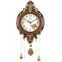 Aero Snail LARGE SIZE Retro Vintage Imperial Style Elegant Silent Wood Metal Wall Clock with Swinging Pendulum