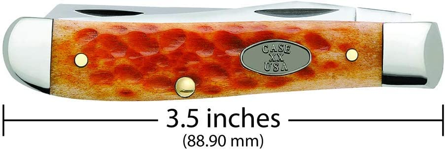 CASE XX WR Pocket Knife Pocket Worn Whiskey Bone Cv Mini Trapper Item #23007 - (6207 Cv) - Length Closed: 3 1/2 Inches