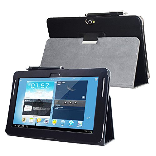 For Samsung Galaxy Note 10.1 (2012 edition ) GT N8013 N8000 Flip case cover - SCH-I925 Folio stand back book cover for GT-N8010 N8005 N8020 Tablet pu leather case (Black)