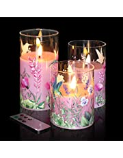 """Eywamage Glass Flameless Candles with Remote Flickering Real Wick Wax LED Pillar Candles 3 Pack D 3"""" H 4"""" 5"""" 6"""""""