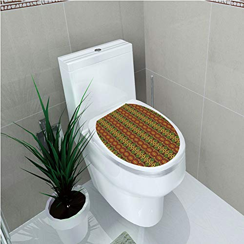 Toilet Cover Sticker,African,Abstract Tribal Motifs Vertical Ethnic Borders Folkloric Hippie Antique Decorative,Green Brown Yellow,Custom Sticker,W12.6
