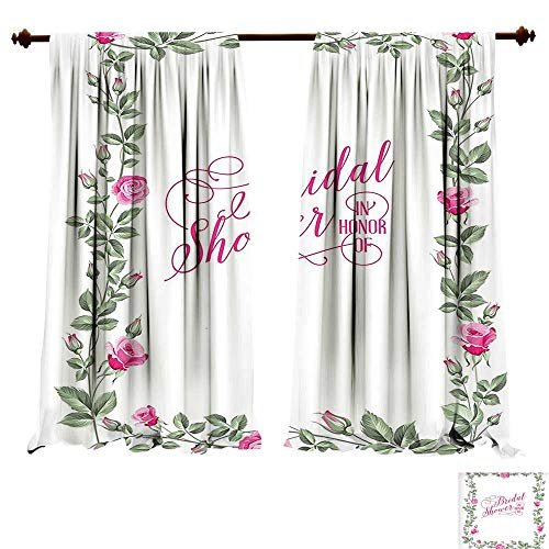 fengruiyanjing-Home Blackout Curtain Set Bridal Shower ations Roses Buds Floral Leaves Frame Bride Party Theme Image Hot Pink and Green Comfort Spaces (W120 x L96 -Inch 2 Panels) ()
