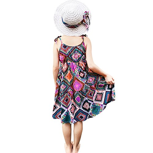 (Summer Cotton Dress Cute Colourful Vintage Floral Print Beach Boho Summer Dresses with Sun Hat Sets for Toddler Girls (100(fit heigth41-44), Multicoloured7))