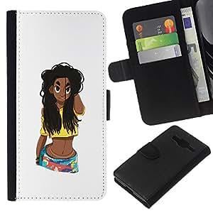 Planetar® Modelo colorido cuero carpeta tirón caso cubierta piel Holster Funda protección Para Samsung Galaxy Core Prime / SM-G360 ( Grunge Beach Girl Belly Woman Long Hair )