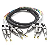 4 Channel 1/4' TRS Snake Cable - 5 Feet Long - Serviceable Ends - Pro Audio Effects Snake for Live Live, Recording, Studios, and Gigs - Patch, Amp, Mixer, Audio Interface 5'