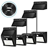 ILLUNITE Solar Light Bright 10 LED Waterproof Motion Sensor Security Outdoor, Yard, light for Driveway Garden Path, 4 PACK with Extra Long Extension Cords