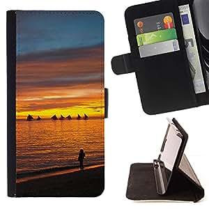 For Apple Apple iPhone 4 / iPhone 4S Case , Puesta de sol Mar Beautiful Nature 13- la tarjeta de Crédito Slots PU Funda de cuero Monedero caso cubierta de piel