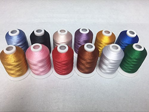 Sinbel Polyester Embroidery Thread 12 Colors 1000Meters/1100Yards Per Spool For Brother Babylock Janome Singer Pfaff Husqvaran Bernina Machines