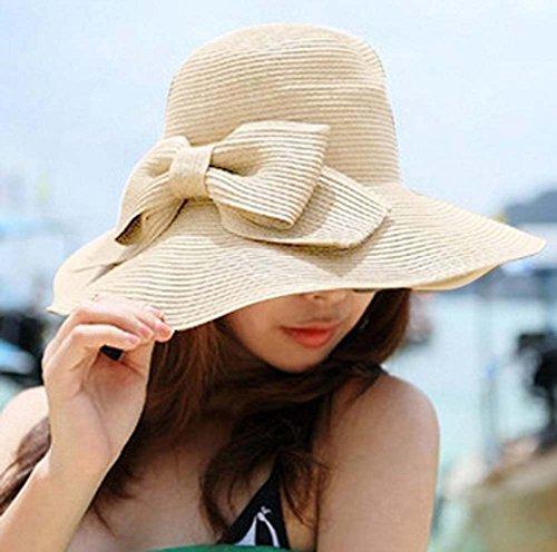 Women Fashion Korean Large Wide Brim Bow Beach Sun Straw Hat Bohemia Cap Sun Visor Sun Shade Big Floppy Hand Crocheted Holiday Travel (Beige)