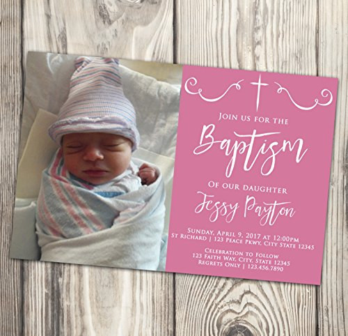 Baptism Invitation - Pink and White First Communion Invite - Naming Day - Christening - Confirmation - Photo - 4x6