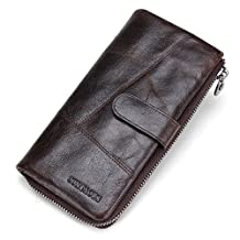 Contacts Men Genuine Leather Bifold Wallet Organizer Checkbook Card Case 12 cards