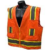 Full Source US2ON16 Class 2 Solid Surveyor Safety Vest - Orange - 4XL