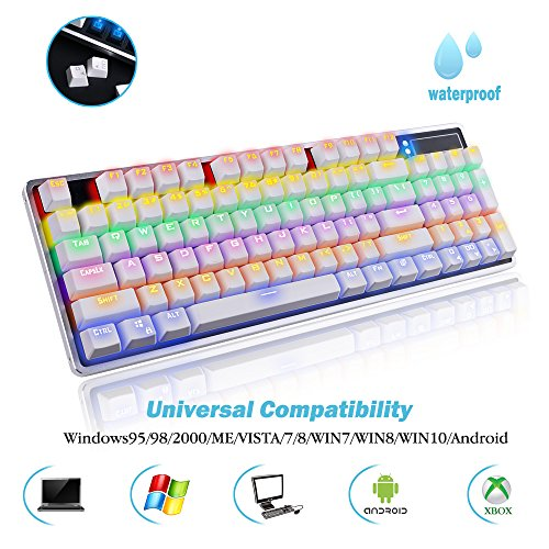 - AcTopp Mechanical Keyboard Gaming Keyboards 92 Keys LED Backlight with Blue Switch for Windows & Mac Anti-ghosting Keys and Aluminum Frame White