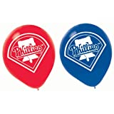 "Sports and Tailgating MLB Party Philadelphia Phillies Printed Latex Balloons Decoration, Blue and Red, 12"", Pack of 6"