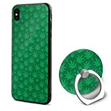 Jerommo iPhone X Mobile Phone Shell Ring Bracket Geen Marijuana Cleanse Shock Absorption