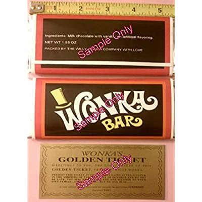 1.55 oz. Willy Wonka chocolate bar wrapper & golden ticket-Mini - no chocolate included: Arts, Crafts & Sewing