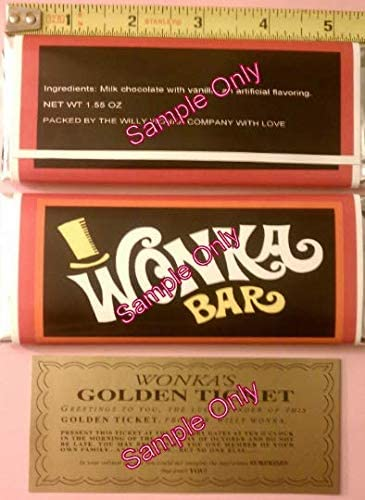 30 NUGGET SIZED-WILLY WONKA CHOCOLATE BAR WRAPPERS /& GOLDEN TICKETS-no chocolate included