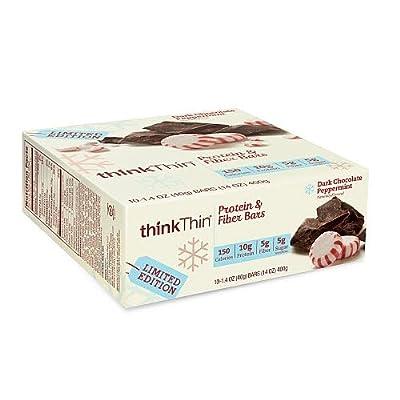 thinkThin Limited Edition Lean Protein Fiber Bars Dark Chocolate Peppermint