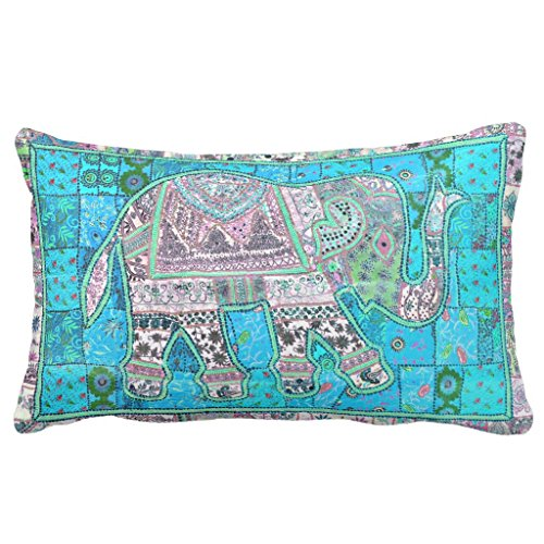 Indian Folk Art (Zazzle Cute Folk Art Indian Baby Elephant Patchwork Lumbar Pillow 13