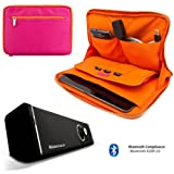Irista Carrying Leather Sleeve (Magenta, Orange) For Samsung Galaxy Note 10.1 (2014 Edition) Android Tablet + 10hr Bluetooth Speaker with Sub