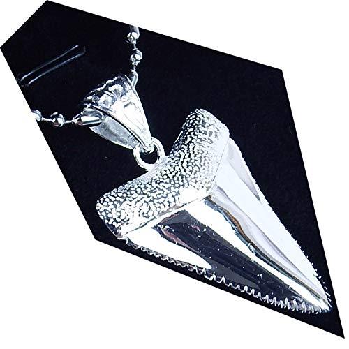 GemShark 15g Sterling Silver Necklace Pendant Great White Shark Tooth for Men Women ()