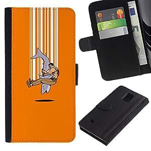 KLONGSHOP // Tirón de la caja Cartera de cuero con ranuras para tarjetas - Explosión Tiburón divertido - Samsung Galaxy Note 4 IV //