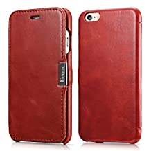 iPhone 6 & 6s Case, Benuo [Vintage Series] - Handcrafted 100% Genuine Leather Case with Magnetic Closure (Retro Red, no card slot)
