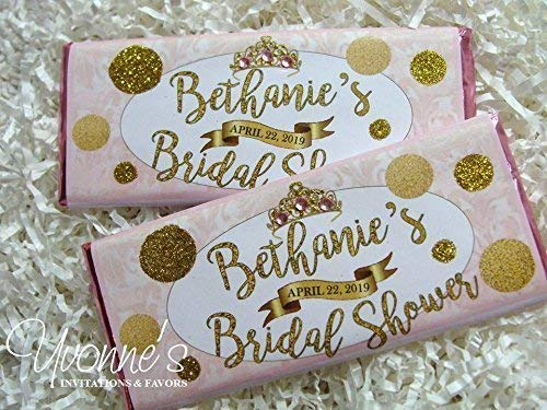 (Bridal Shower Candy Bar Wrappers-Personalized Wrappers for Chocolate Bars-Blush Pink and Glitter Gold-Bridal Shower, Baby Shower, Sweet 16, Birthday (SET OF 12) ** Chocolate Not Included **)
