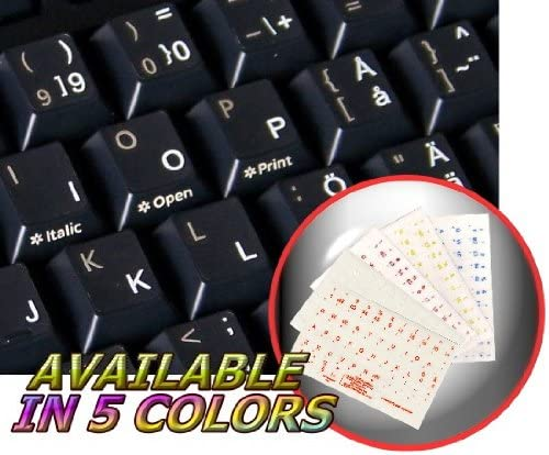 SWEDISH-FINNISH KEYBOARD STICKERS WITH WHITE LETTERING TRANSPARENT BACKGROUND