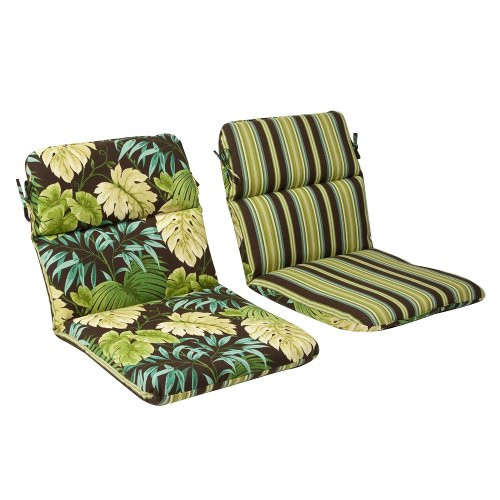 Tropical Cushion - Pillow Perfect Indoor/Outdoor Green/Brown Tropical/Striped Reversible Chair Cushion, Rounded