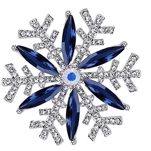 VVANT Brooches for Women with Blue Crystal,Zircons Snowfake Brooch Pins,Fashion Brooch Gifts for Party/Daily/Birthday (Snow Sliver)