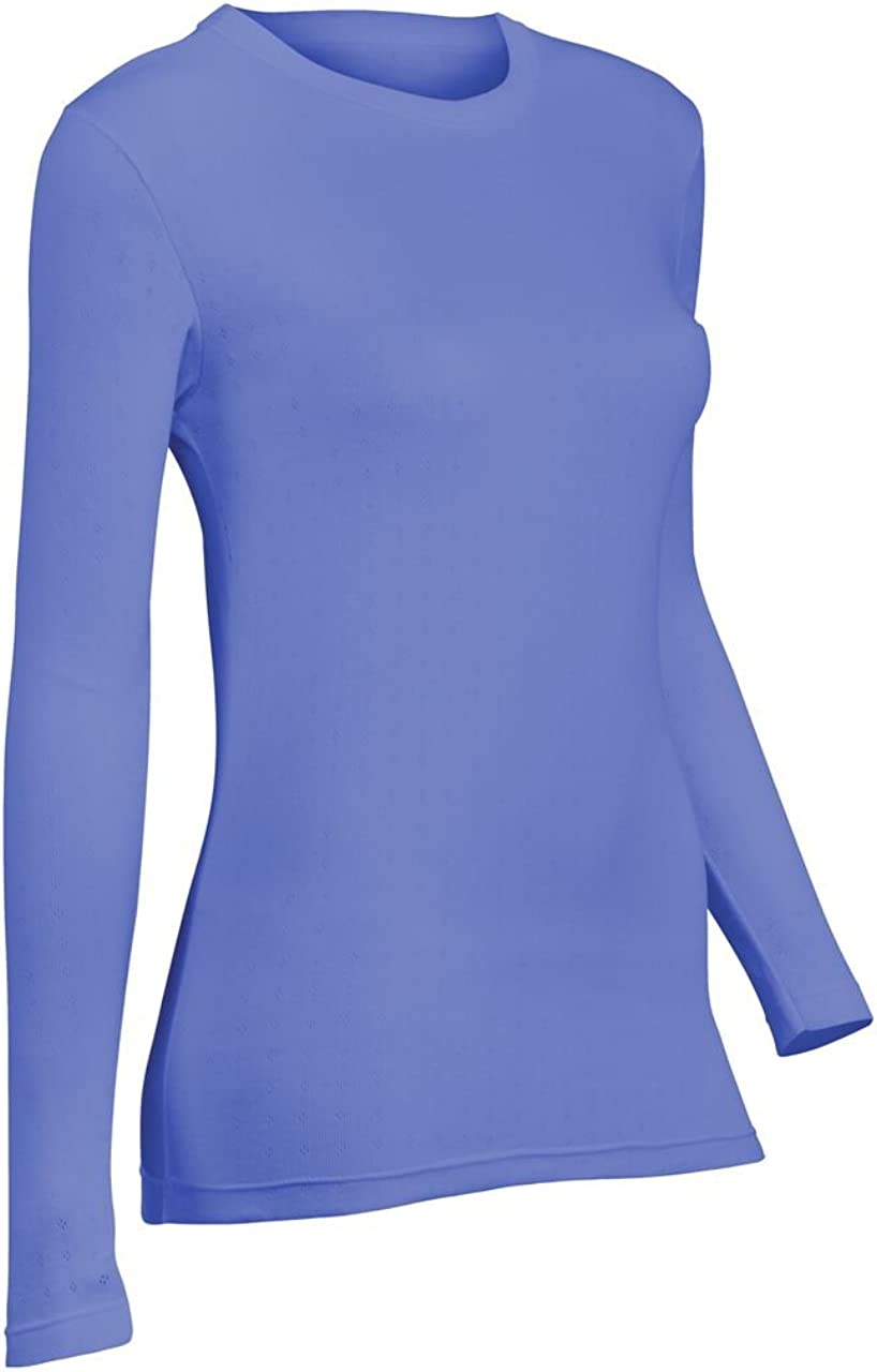 Indera Women's Pointelle Crew Top, Periwinkle, XX-Large 180LS