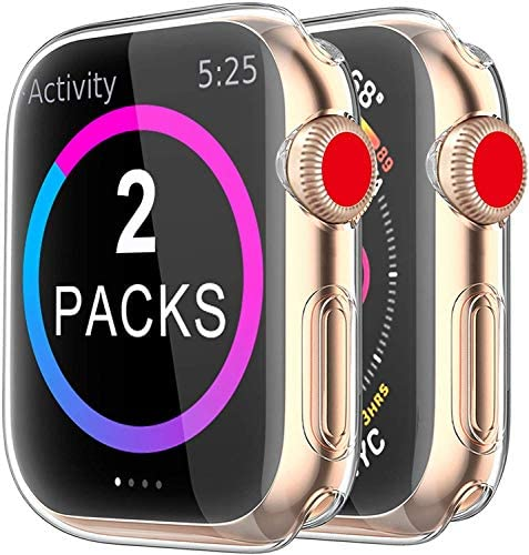 BRG Case for Apple Watch Series SE 6 5 4 3 Screen Protector 40mm 44mm 38mm 42mm,[2 Pack] Soft TPU HD Clear Ultra-Thin Overall Protective Cover Case