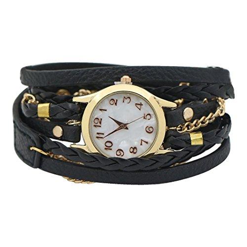 Women Weave Wrap Leather Bracelet Wrist Watch Black - 6