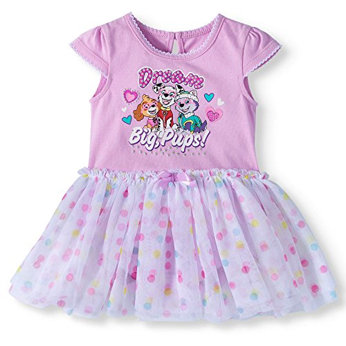 Paw Patrol Baby Girls Pink Polka Dot Tutu Bodysuit Dress Dream Big Pups (0-3M)]()