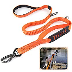 Heavy Duty Dog Leash Especially for Large Dogs Up to 150lbs, 6 Ft Reflective Dog Walking Training Shock Absorbing Bungee Leash with Car Seat Belt Buckle, 2 Padded Traffic Handle for Extra Control