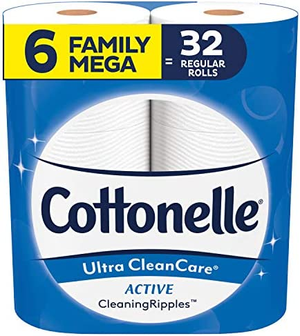 Cottonelle Ultra CleanCare Strong Toilet Paper with Active Cleaning Ripples, 6 Family Mega Rolls, Bath Tissue (6 Family Mega Rolls = 32 Regular Rolls)