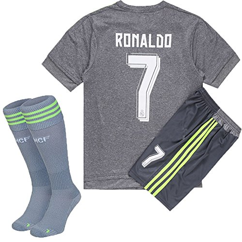 Wild Bunch 2015/2016 #7 Away Gray Soccer Football Jersey Sportswear Team Polo Shirt & Short & Sock FOR 3-14 Years Kids (9-10 YEARS)