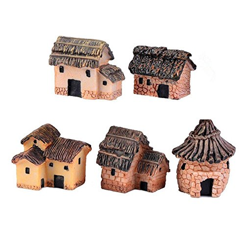 - Danmu 5pcs (5 Styles) Mini Resin Primitive Tribal House Miniature House Fairy Garden Bonsai Decorations