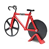 Pizza Cutter, Newness Bicycle Shape Dual Pizza Cutter, Bike Pizza Cutter Wheels with Dual Stainless Steel Blades for Home, Pizza Lovers, Red