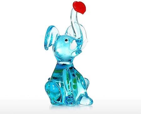 COCECOCE - Estatuas de jardín con esculturas de Animales, Figuras coleccionables, Escultura de Cristal, Figuras Decorativas de Animales Hechas de Cristal, Hecho a Mano, pequeño Elefante: Amazon.es: Hogar