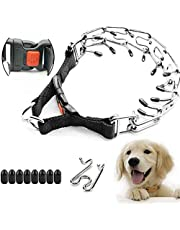 """Supet Dog Prong Collar, Dog Pinch Training Collar with Quick Release Snap Buckle for Small Medium Large Dogs(Packed with One Extra Links) M (Neck Girth: 16""""--Weight: Around 50 lbs)"""