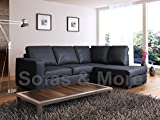 Venice Black PU Leather Right Hand Large corner Group Sofa Suite