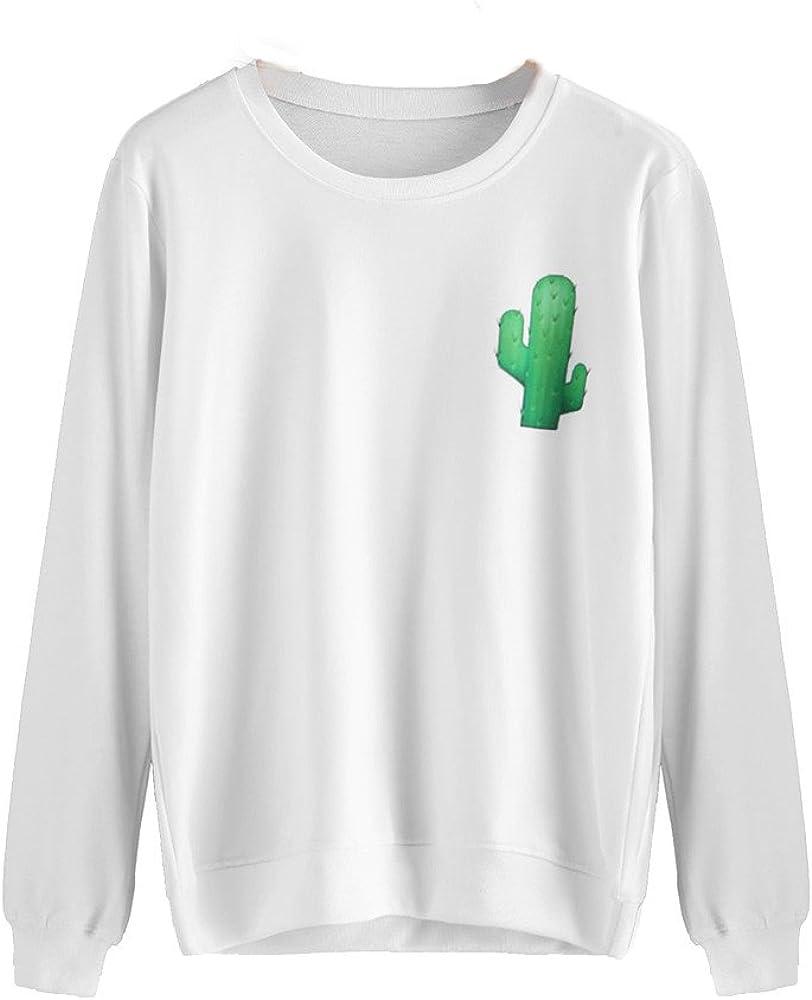 Blusas Mujer Manga Larga del Sexy Pulóver Impresión de Cactus para Dama Casual Tops Tunic Camiseta Sudaderas con Capucha Mujer con Cuello O Blousas: Amazon.es: Ropa y accesorios