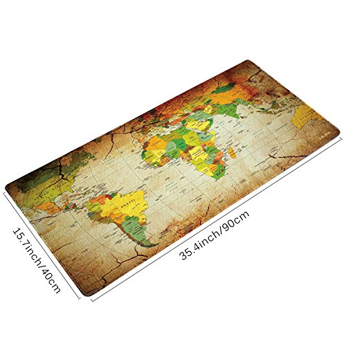 JIALONG Big Mouse Pad XXL 900x400mm Water-Resistant World Map Desk Mat Office Work Mat Support for Computer, PC and Laptop
